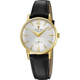 Orologio Donna Festina F20255/1 Extra Cassa Oro cinturino Pelle Nero