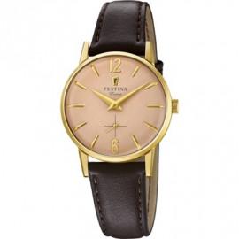 Orologio Donna Festina F20255/2 Cintur.Pelle Marrone Cassa oro/pink