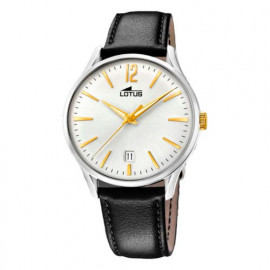 Men's Lotus Watch 18402/1 Black Leather Silver / Yellow Dial