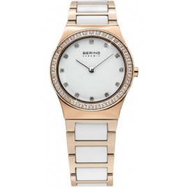 Women's Bering Watch 32430-761 Analog In Steel, Rosé Ceramic