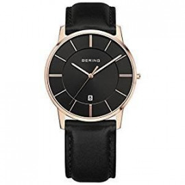 Men's watch bering 13139-466 pink stainless steel black leather