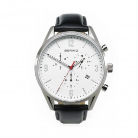 Chronograph Watch Men BERING steel case cint. Leather 10542-404
