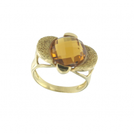 Anello donna oro giallo con ambra 18 kt  7,65 gr H8621