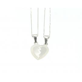 Catena con pendente Unisex cuore a metà oro 18 kt  2,15 gr B0127