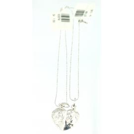 Collana e pendente cuore a meta' unisex oro bianco 18 kt 2,35 gr X3379
