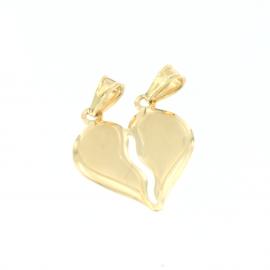 Pendente cuore a metà unisex oro giallo 18 kt  3,30 gr V0136