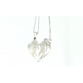 Collana e pendente unisex cuore a metà oro bianco 18 kt 2,85 gr R243