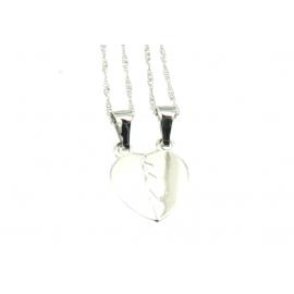 Collana e pendente unisex cuore a metà oro bianco 18 kt 2,10 gr B0206