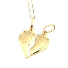 Collana e pendente unisex cuore a metà oro giallo 18 kt 2,90 gr HH3327