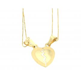 Collana e pendente unisex cuore a metà oro giallo 18 kt 2,05 gr B0204