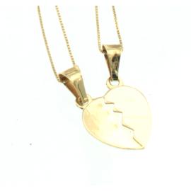 Collana e pendente unisex cuore a metà oro giallo 18 kt  gr B0116