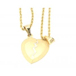 Collana e pendente unisex cuore a metà oro giallo 18 kt  3,25gr B0195