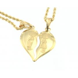 Collana e pendente unisex cuore a metà oro giallo 18 kt  3,45 gr R240