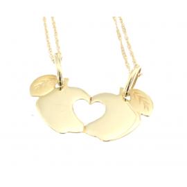 Collana e pendente unisex mela a metà oro giallo 18 kt  3,40 gr s1258