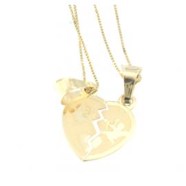 Collana e pendente unisex cuore a metà oro giallo 18 kt  3,45gr R247