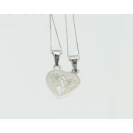 Collana e pendente unisex cuore a metà oro bianco 18 kt 1,80 gr M141