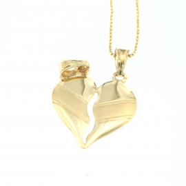Collana e pendente unisex cuore a metà oro giallo 18 kt  5,40gr HH3316