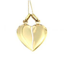 Collana e pendente unisex cuore a metà oro giallo 18 kt  6,05 gr h135