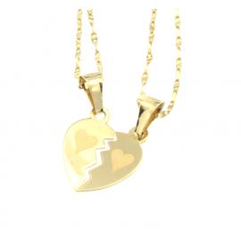 Collana e pendente unisex cuore a metà oro giallo 18 kt  2,30 gr B0112