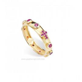 anello donna AMEN AROGR argento 925 dorato e cristalli viola