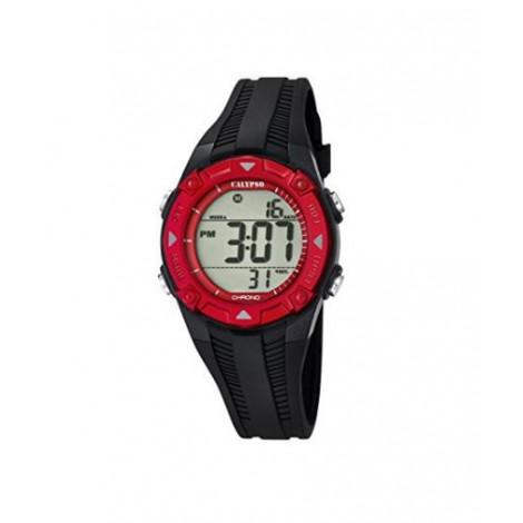 Calypso-Orologio digitale Unisex, con Display LCD digitale e cinturino in plastica, colore: nero, 2 K5685