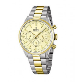 Festina-Quartz Men's Watch with Chronograph Display and Two Tone Gold Plated Steel, F16821 / 2
