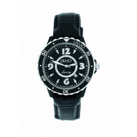 Black Woman Watch LIU-JO TLJ041 Fibreglass Case Leather Strap