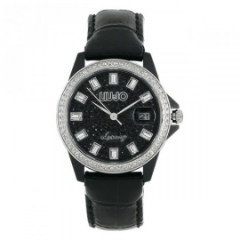 Black Woman Watch LIU-JO TLJ078 Fibreglass Case Leather Strap