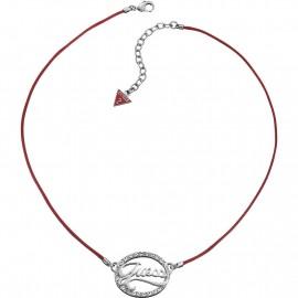 Collana  Donna  Laccio Rosso Ciondolo Acciaio Swarovski UBN12104