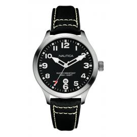 Men's Watch NAUTICA A09558G Steel Case Black Leather Strap