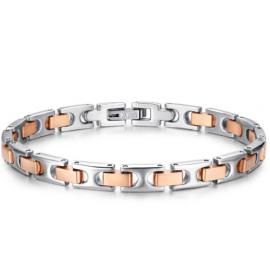 Luca Barra Bracciale in acciaio con elementi rosé design Made in Italy