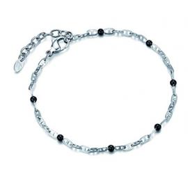 Luca Barra Bracciale in acciaio con elementi neri design Made in Italy