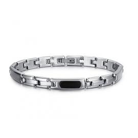 Luca Barra Bracciale in acciaio, piastra con elemento nero design Made in Italy