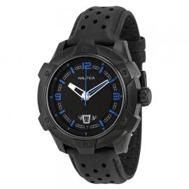Men's Watch NAUTICA A35518G Black Steel Case Black Leather Strap