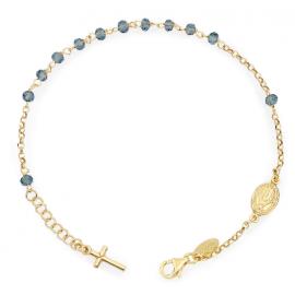 0715cf935e3047 Bracciale Amen Rosario AG925 - Cristalli Blu - Croce Charm