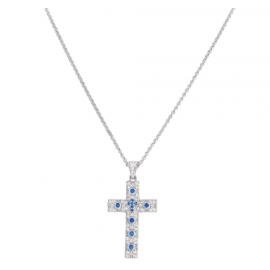 Collana Amen Croce AG925 - Zirconi Blu, Colore: Rodio
