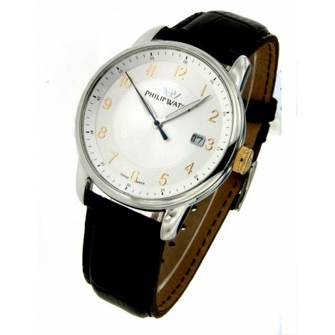 orologio uomo bianco PhilipWatch R8251178004 cassa acciaio cint. pelle