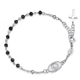 Luca Barra Bracciale rosario in acciaio con croce, ancora e cristalli neri design Made in Italy