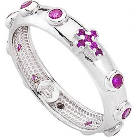 Anello Donna AMEN AROBR argento 925 e cristalli viola