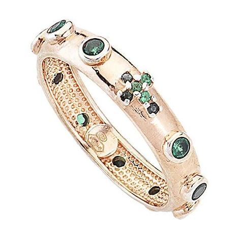 anello donna AMEN ARORV-18 argento 925 bronzato e pietre verdi