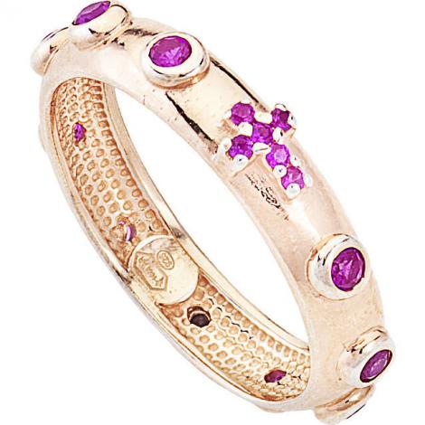 anello donna AMEN ARORR-14 argento 925 bronzato e pietre viola