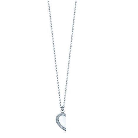 eecf376be23b2e Luca Barra Collana in acciaio con mezzo cuore con cristalli bianchi design  Made in Italy
