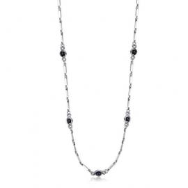 Luca Barra Collana in acciaio con cristalli neri design Cod.CL179