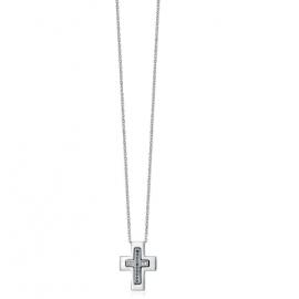 Luca Barra Collana acciaio, croce e cristalli bianchi e neri Cod.CA346