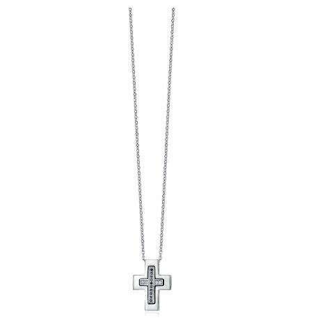 super popolare d7dab a17d0 Luca Barra Collana acciaio, croce e cristalli bianchi e neri Cod.CA346