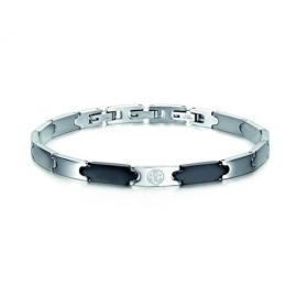 Luca Barra Bracciale in acciaio con elementi neri ed ancora design Made in Italy