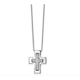 Luca Barra Collana in acciaio, croce con cristalli bianchi Cod.CA345