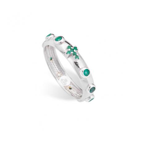 anello donna AMEN AROBV argento 925 e cristalli verdi