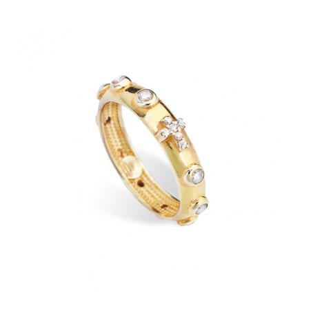 anello donna AMEN AROGB-20 argento 925 dorato e cristalli bianchi