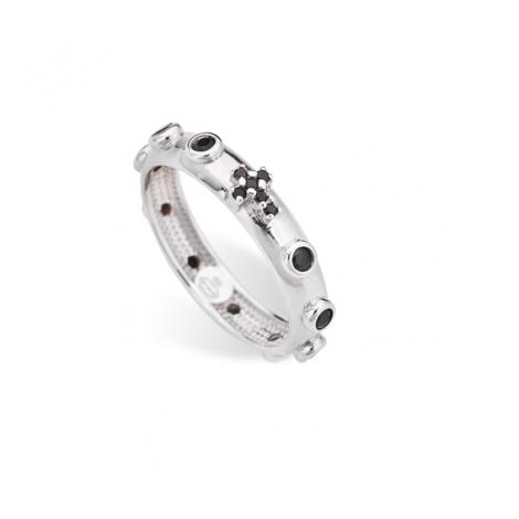 anello donna AMEN AROBN argento 925 e Cristalli neri